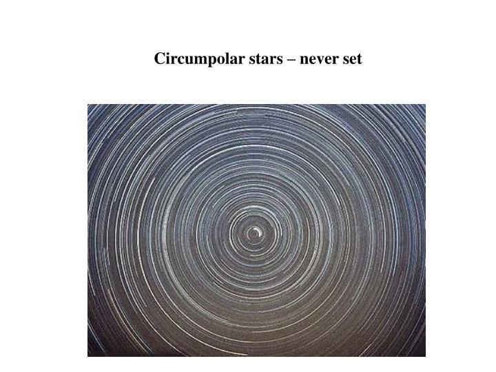 Circumpolar stars – never set