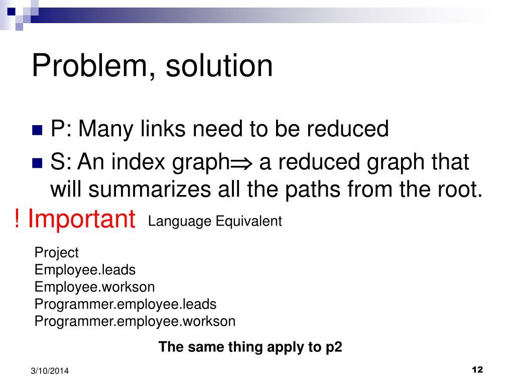 Problem, solution