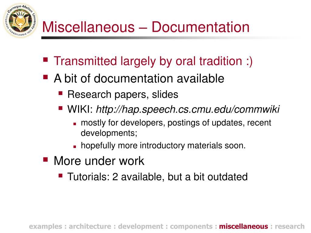 Miscellaneous – Documentation