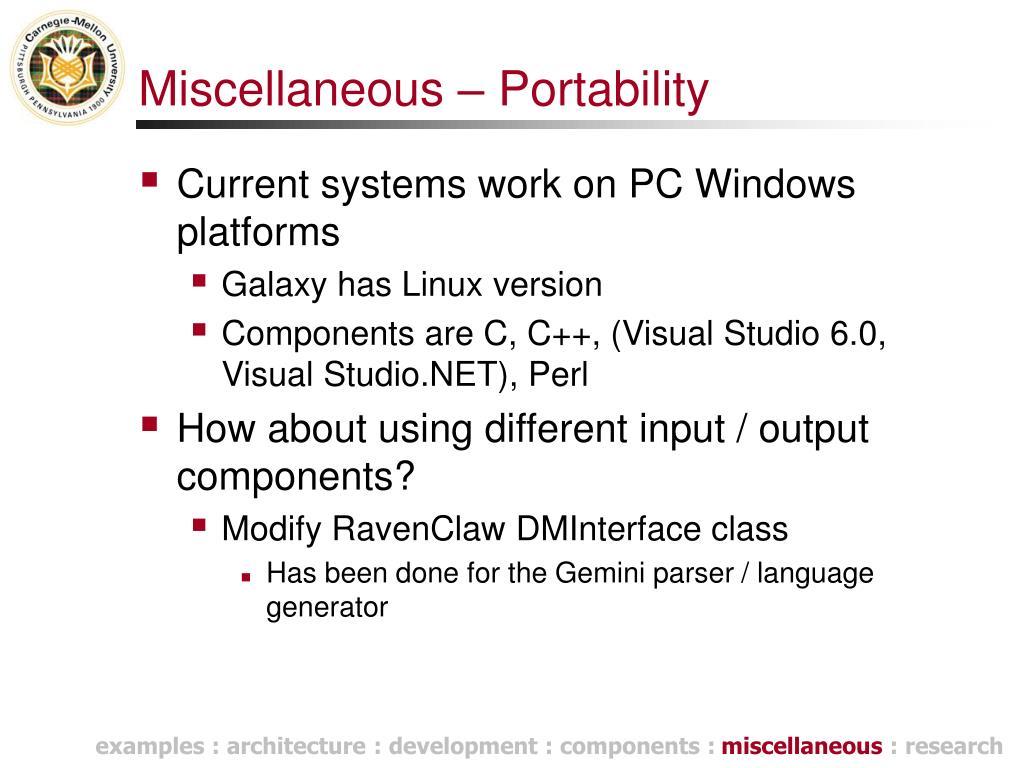 Miscellaneous – Portability