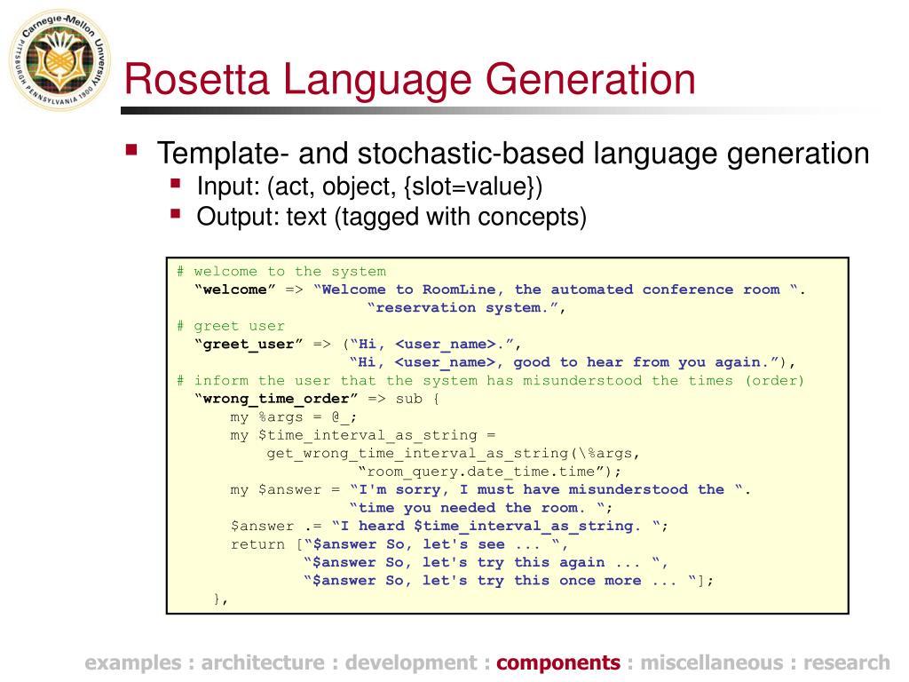 Rosetta Language Generation