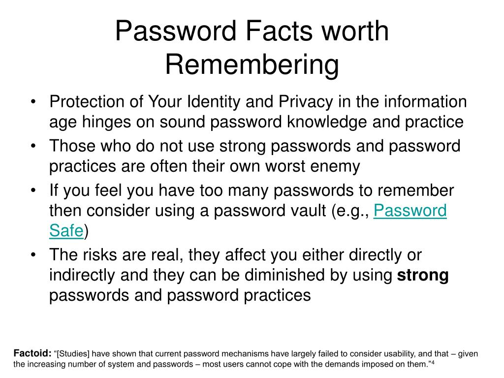 Password Facts worth Remembering