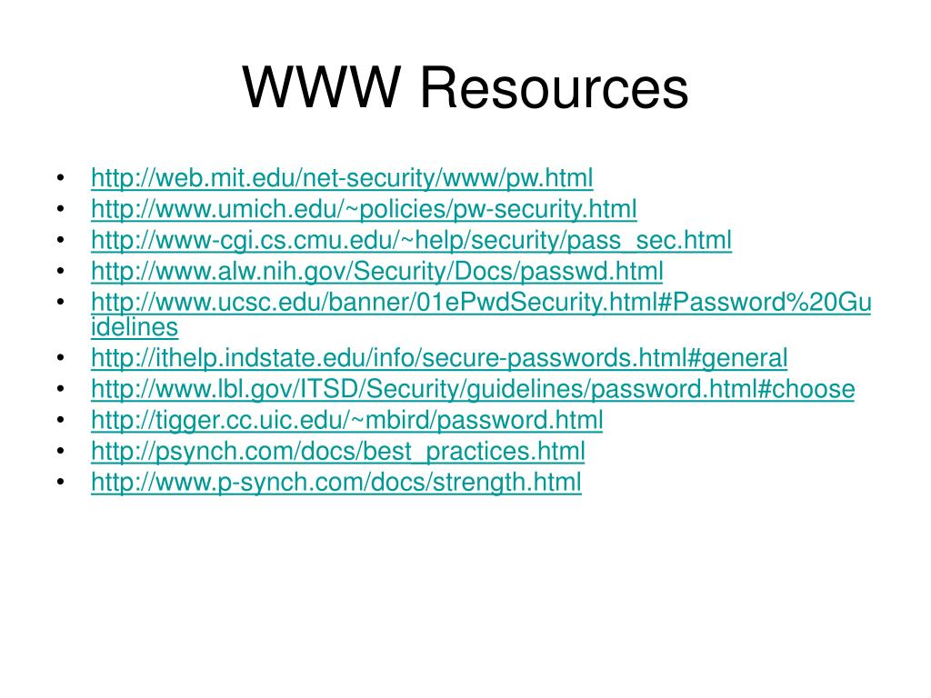 WWW Resources
