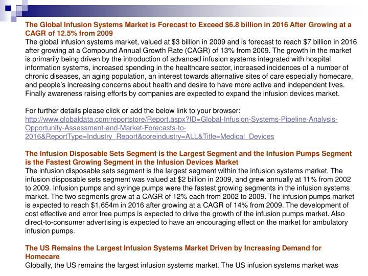 The Global Infusion Systems Market is Forecast to Exceed $6.8 billion in 2016 After Growing at a CAGR of 12.5% from 2009