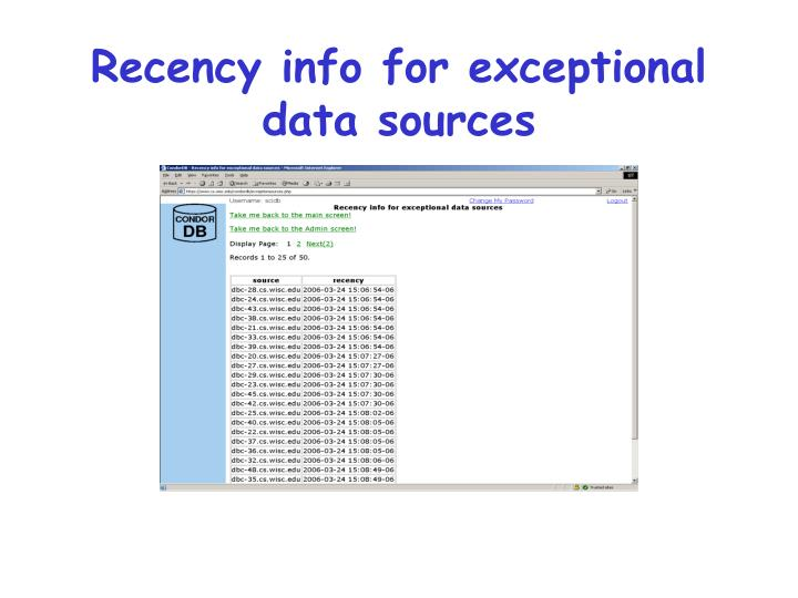 Recency info for exceptional data sources