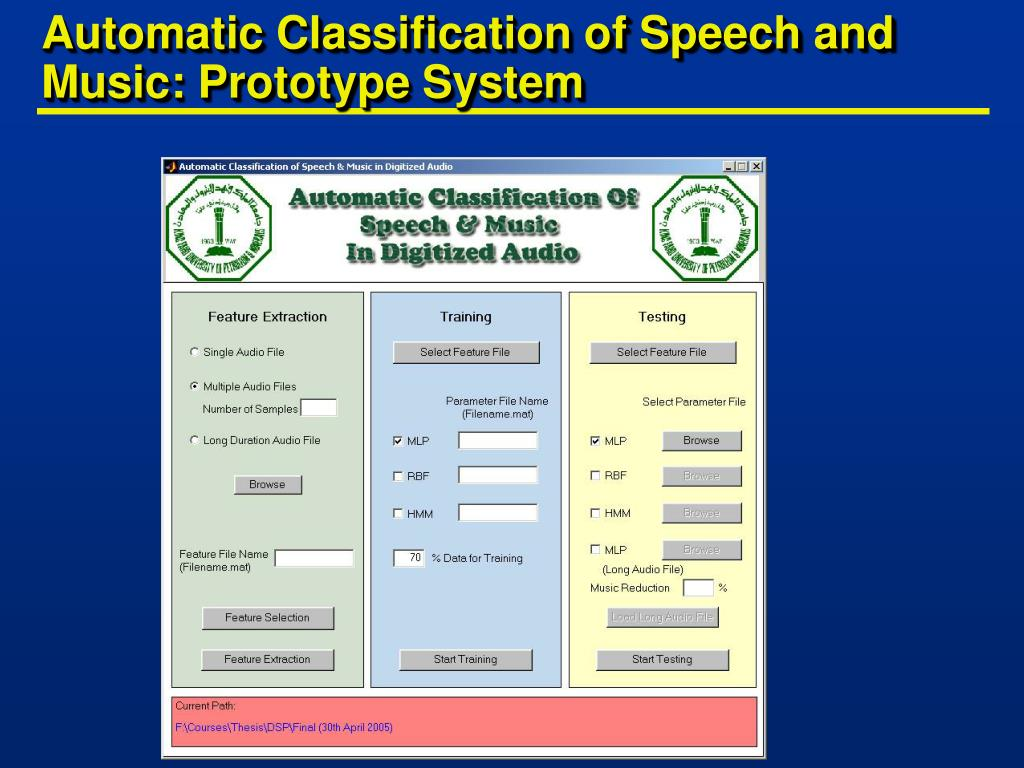 Automatic Classification of Speech and Music: Prototype System