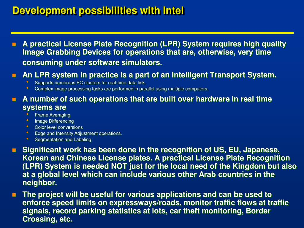 Development possibilities with Intel