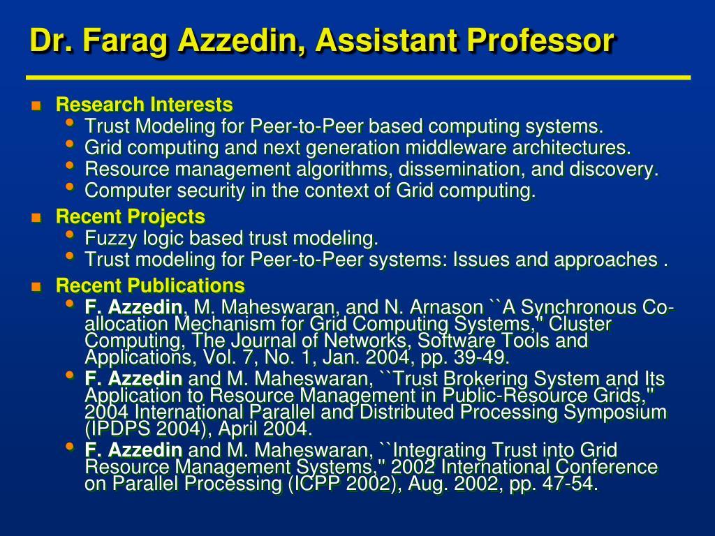 Dr. Farag Azzedin, Assistant Professor