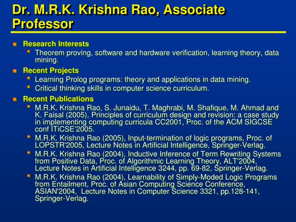 Dr. M.R.K. Krishna Rao, Associate Professor