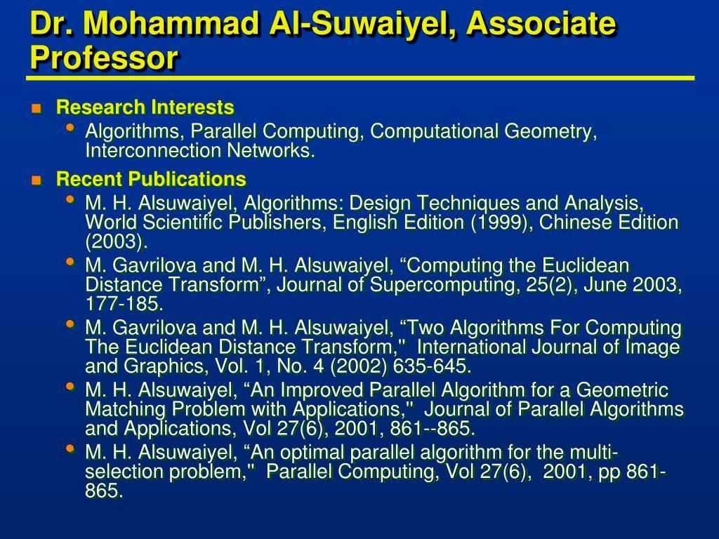 Dr. Mohammad Al-Suwaiyel, Associate Professor