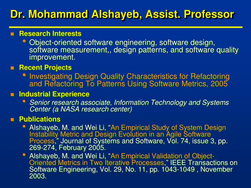 Dr. Mohammad Alshayeb, Assist. Professor