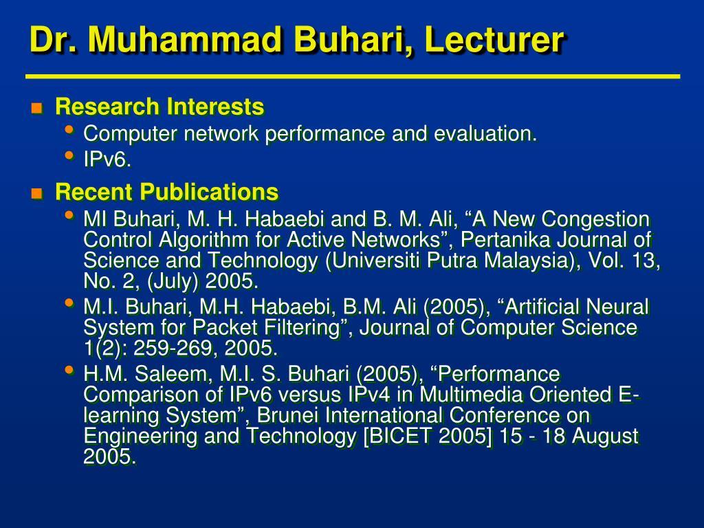Dr. Muhammad Buhari, Lecturer