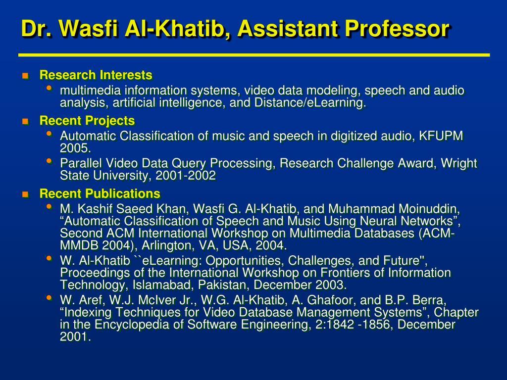 Dr. Wasfi Al-Khatib, Assistant Professor