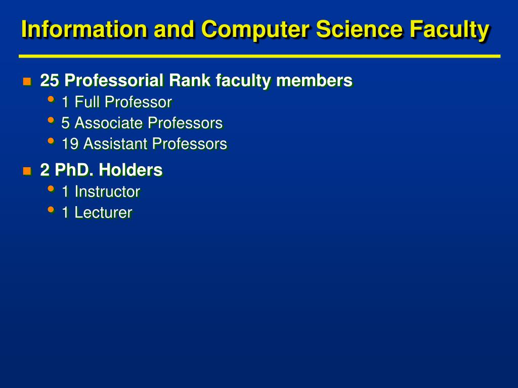 Information and Computer Science Faculty