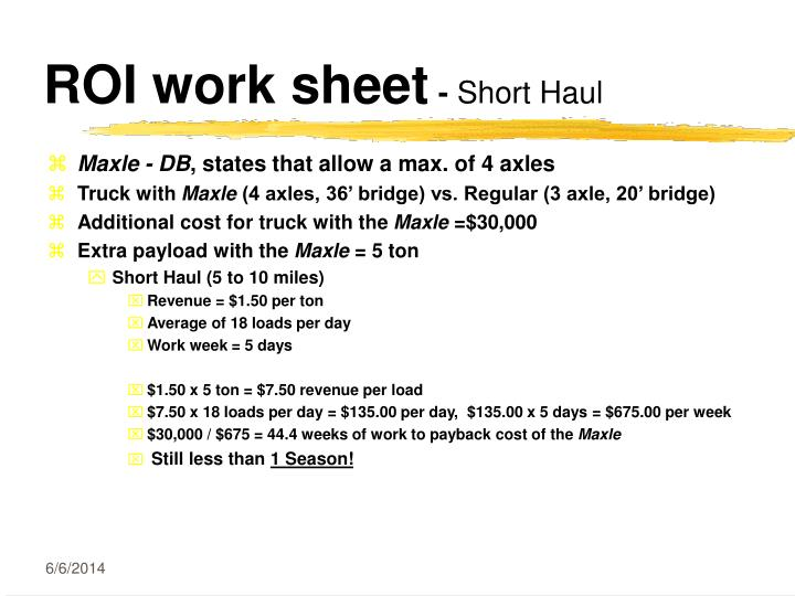 ROI work sheet