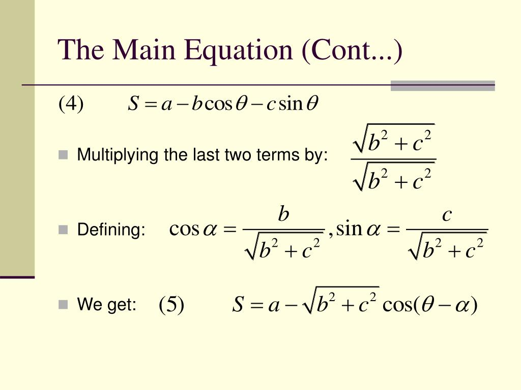 The Main Equation (Cont...)