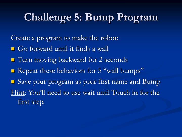 Challenge 5: Bump Program