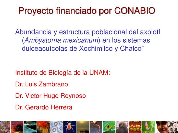 Proyecto financiado por CONABIO
