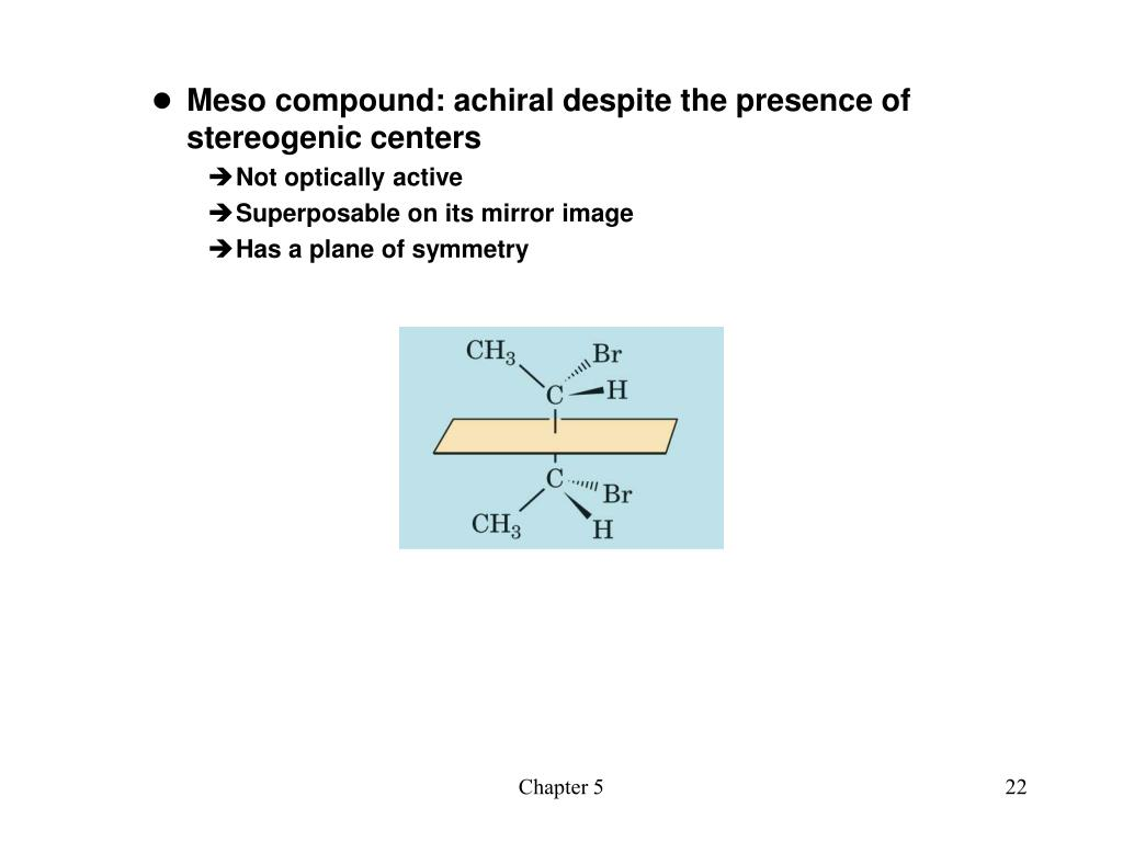 Meso compound: achiral despite the presence of stereogenic centers