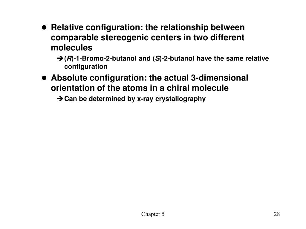 Relative configuration: the relationship between comparable stereogenic centers in two different molecules