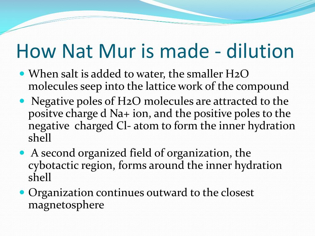 How Nat Mur is made - dilution