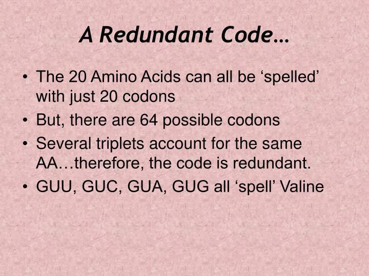 A Redundant Code…