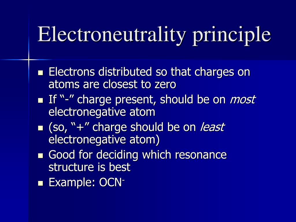 Electroneutrality principle