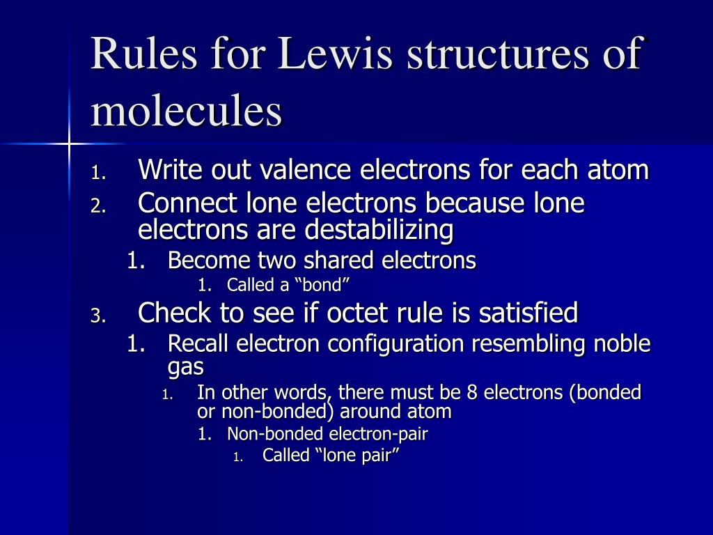 Rules for Lewis structures of molecules