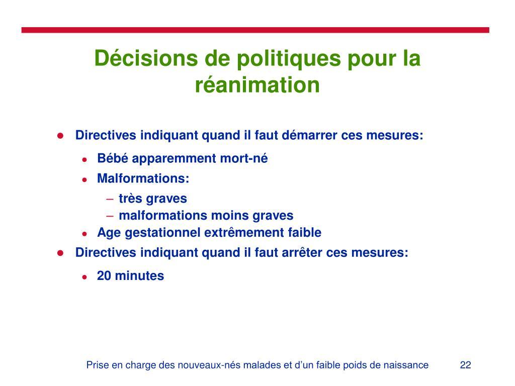 Décisions de politiques pour la réanimation