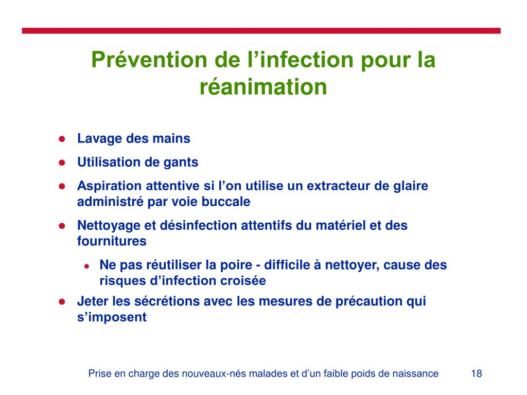 Prévention de l'infection pour la réanimation