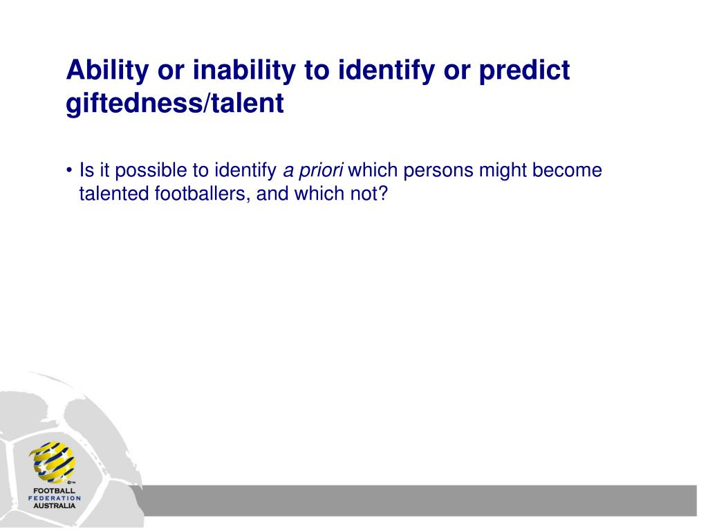 Ability or inability to identify or predict giftedness/talent