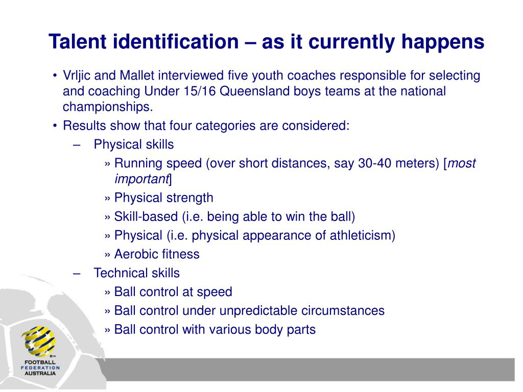 Talent identification – as it currently happens