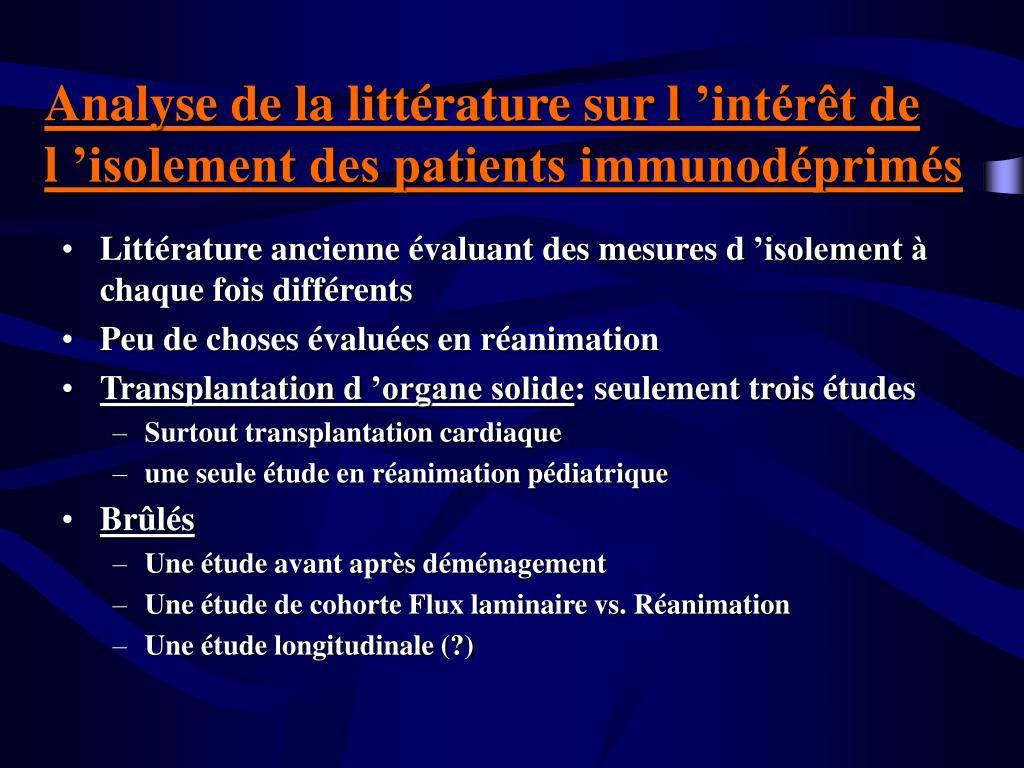 Analyse de la littérature sur l'intérêt de l'isolement des patients immunodéprimés