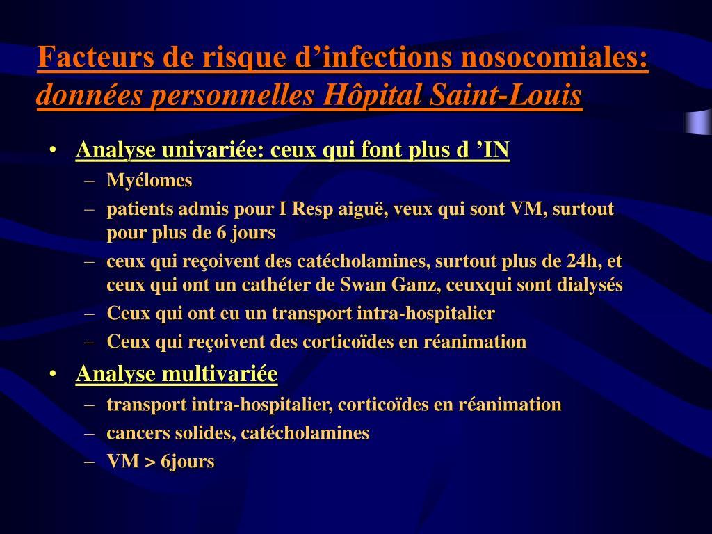 Facteurs de risque d'infections nosocomiales: