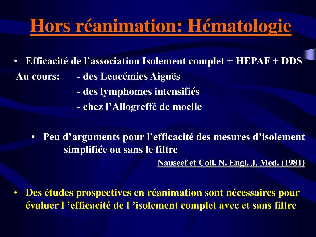 Hors réanimation: Hématologie