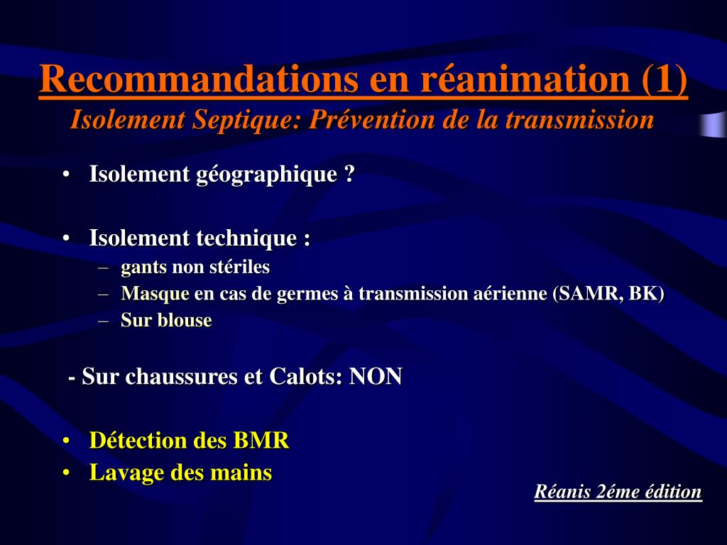 Recommandations en réanimation (1)