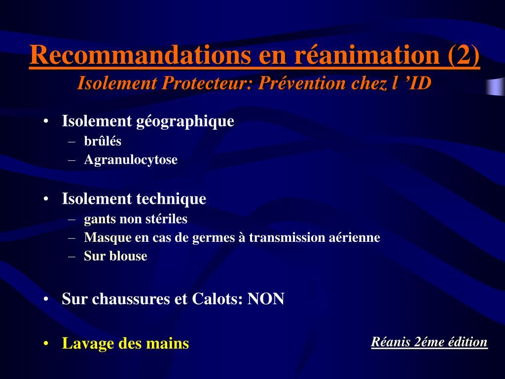 Recommandations en réanimation (2)