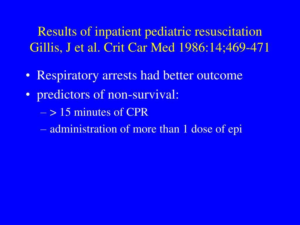 Results of inpatient pediatric resuscitation