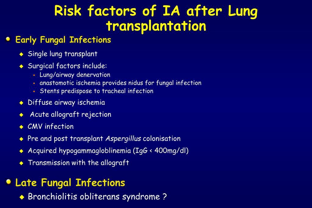 Risk factors of IA after Lung transplantation