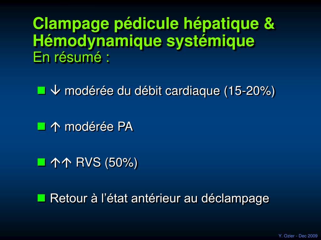 Clampage pédicule hépatique & Hémodynamique systémique