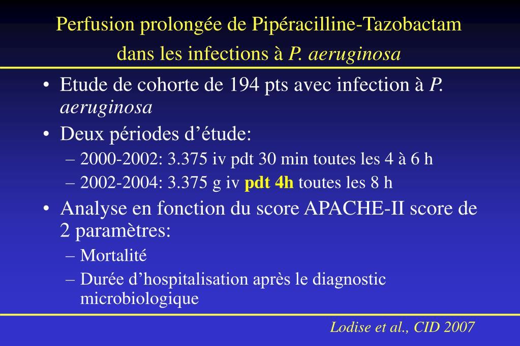 Perfusion prolongée de Pipéracilline-Tazobactam dans les infections à