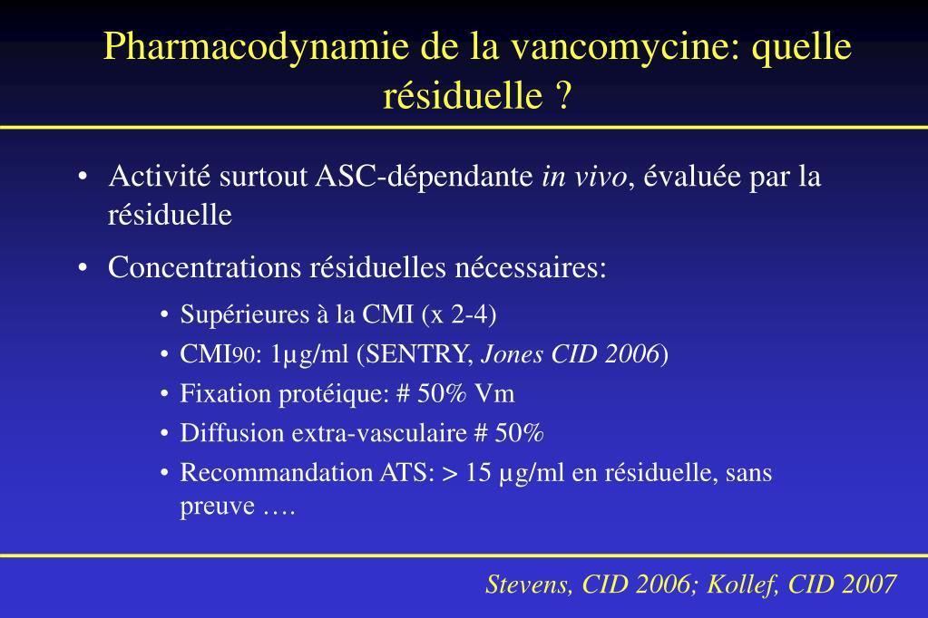 Pharmacodynamie de la vancomycine: quelle résiduelle ?
