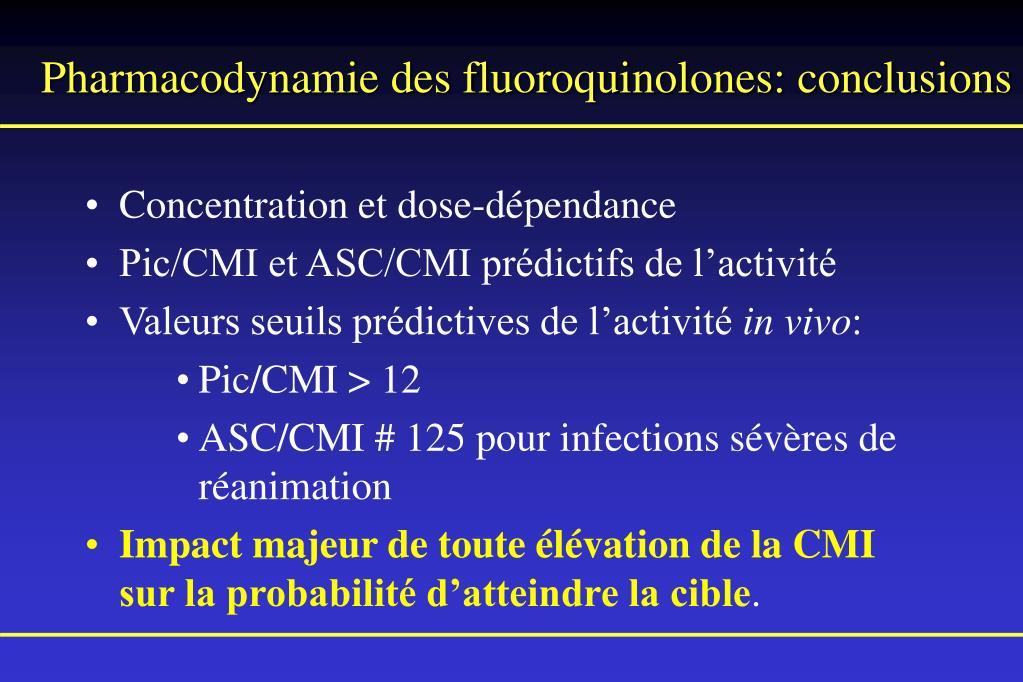 Pharmacodynamie des fluoroquinolones: conclusions