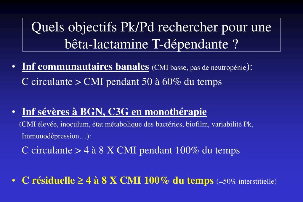 Quels objectifs Pk/Pd rechercher pour une bêta-lactamine T-dépendante ?