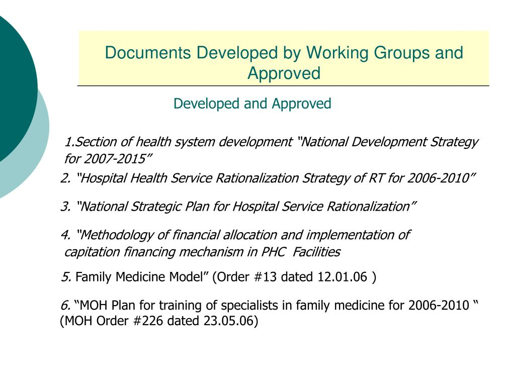 Documents Developed by Working Groups and Approved