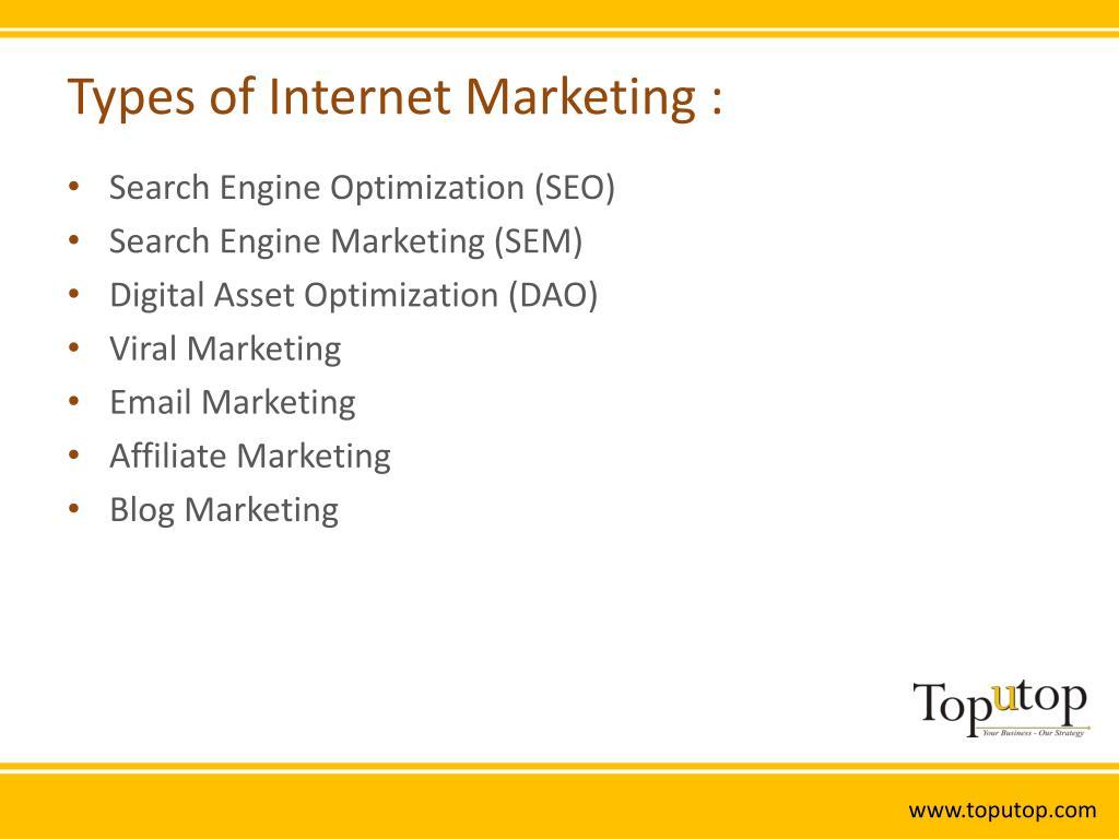 Types of Internet Marketing :