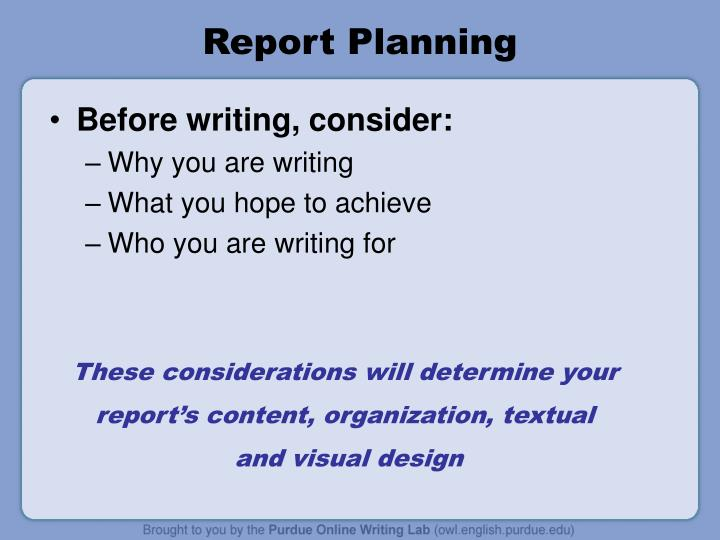 Report Planning