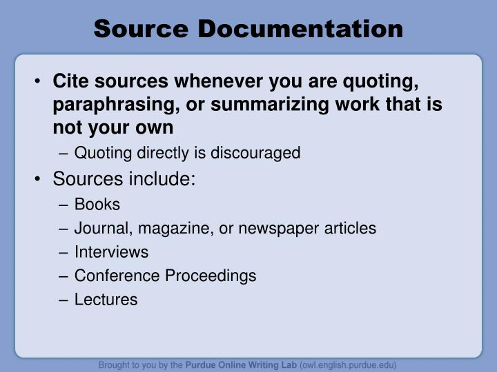 Source Documentation