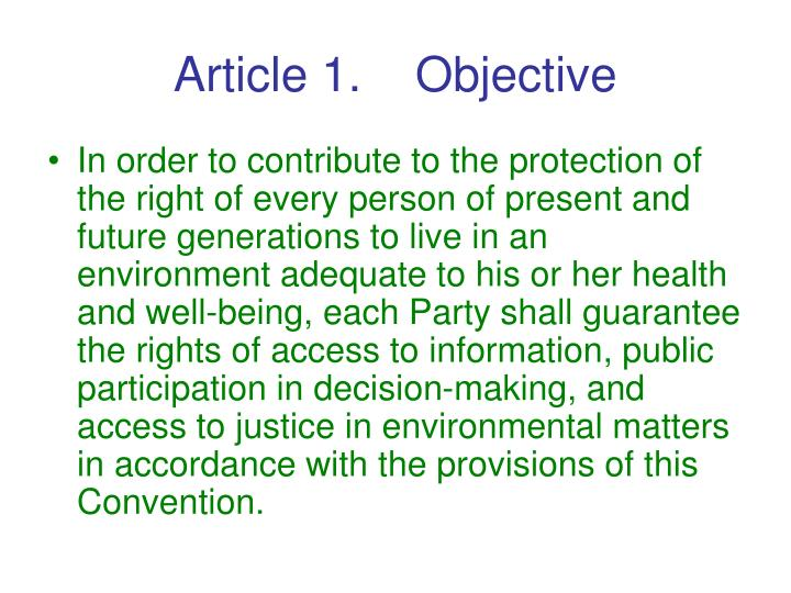 Article 1.    Objective