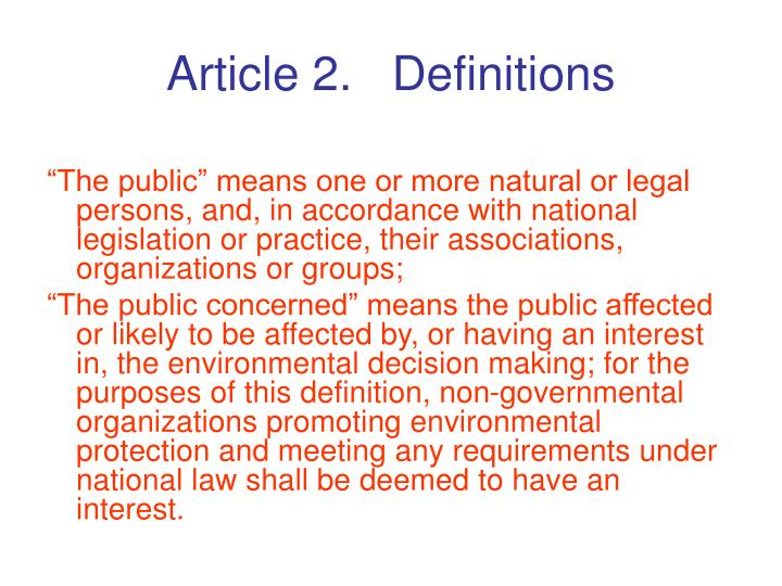 Article 2.   Definitions